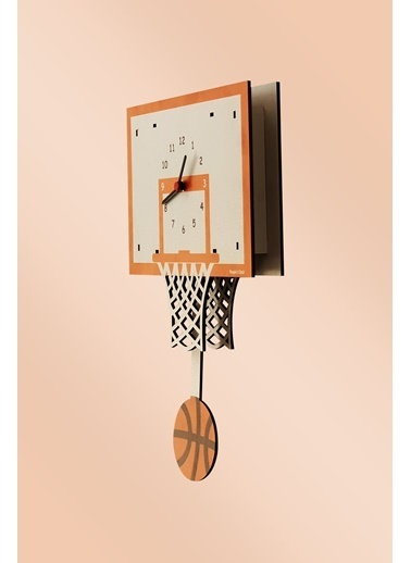 Peoples Clock Basketbol Sallanan Sarkaçlı Çocuk Odası Duvar Saati Renkli